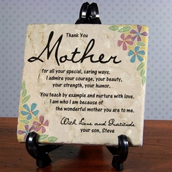 Thank You Mom Personalized Tumbled Stone Plaque