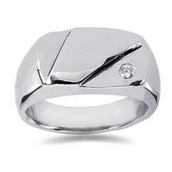 0.07 ctw Men's Diamond Ring in 18K White Gold