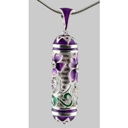 Purple Floral Enamel Blessing Pendant