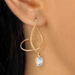 DiamonUltra Cubic Zirconia Spiral Pierced Earrings