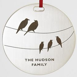 Personalized Birds on Wire Brushed Silver Ornament