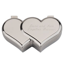 Engravable Double Heart Jewelry Box