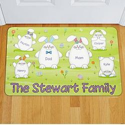 Personalized Easter Bunny Family Doormat