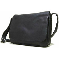 Black Leather Flap Over Messenger Bag