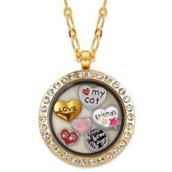 Goldtone Round Rhinestone Cat Lover Locket