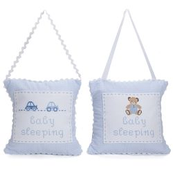 Baby's Personalized Embroidered Hanging Door Pillow in Blue
