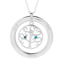 Personalized 3-Birthstone Crystal Family Tree Pendant
