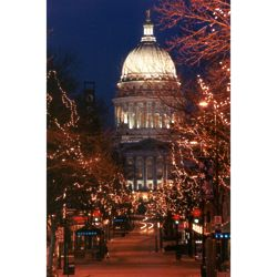 Wisconsin Capitol on State Street at Night Photograph