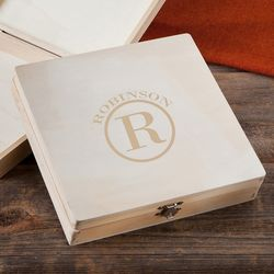 Personalized Circle Monogram Wooden Memory Cigar Box