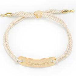 Custom Coordinate Gold Bar & White Rope Bolo Bracelet