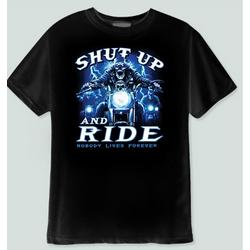 Shut Up and Ride Skeleton Biker T-Shirt