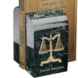Gold Plated Legal Scales Marble Bookends