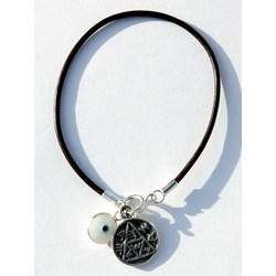 White on Leather Evil Eye Pregnancy Bracelet