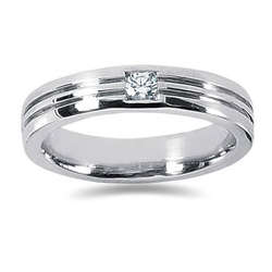 0.15 ctw Men's Diamond Ring in 18K White Gold