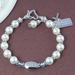 Cultured Pearl Engravable Birthstone Bracelet