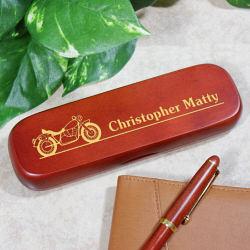 Engraved Motorcycle Rosewood Pen Set