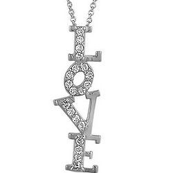 Sterling Silver CZ Accent Love Pendant Necklace