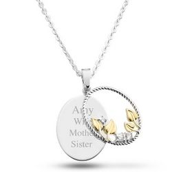 Sterling Silver Oval Pendant with Leaves