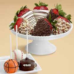 3 Sports Cake Pops and Full Half Dozen Fancy Berries