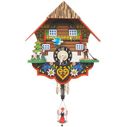Black Forest Chalet Clock with Bouncing Girl and Dog