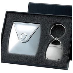 Silver Purse Compact Mirror & Photo Key Chain Gift Set