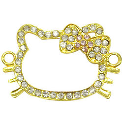 Rhinestone Kitty Head Bracelet Charms