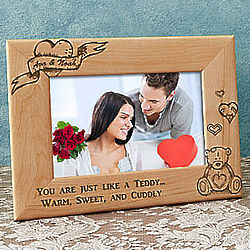 Personalized Romantic Teddy Bear Wooden Picture Frame