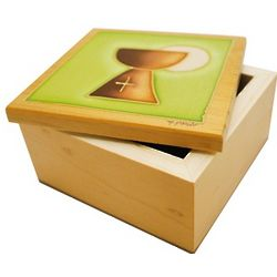 Large Wooden Communion Memory Box with Handpainted Chalice