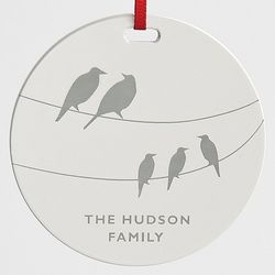 Birds on Wire Glossy White Metal Ornament