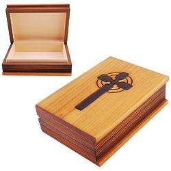 Handcrafted Wooden Keepsake Box with Cross