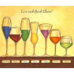 Cheers to Friendship Seven Wine Glasses Print