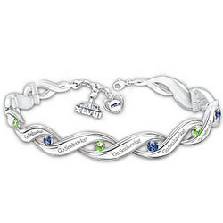 Seahawks Super Bowl Champs Bracelet with Team-Color Crystals