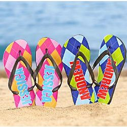 Personalized Argyle Flip Flops