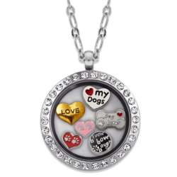 Silvertone Round Rhinestone Dog Lover Locket