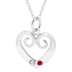 2-Birthstone Sterling Silver Vintage Heart Pendant