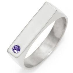 Custom Birthstone Silver Name Bar Ring