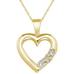 Three Stone Diamond Heart Pendant Necklace