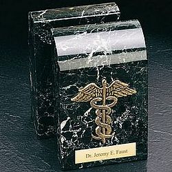 Gold Plated Marble Medical Caduceus Bookends