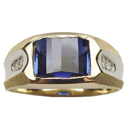 Men's Synthetic Sapphire Diamond Ring in 14K Gold