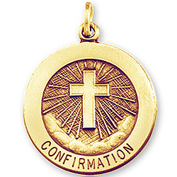 14k Yellow Gold Heavenly Cross Large Confirmation Medal