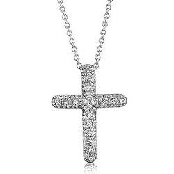 Sterling Silver CZ Accent Cross Pendant Necklace
