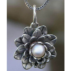 Sacred White Lotus Pearl Pendant Necklace