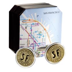 Authentic San Francisco Transit Token Cufflink