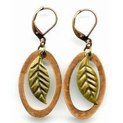 Elemental Earrings Copper Ovals with Brass Leaves