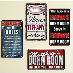 Personalized Dorm Room Metal Sign