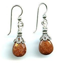 Sterling Silver and Goldstone Briolette Earrings