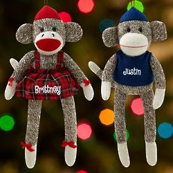 Personalized Sock Monkey Kid's Christmas Ornament
