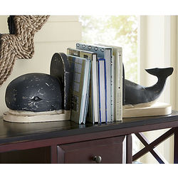 Wooden Whale Bookends