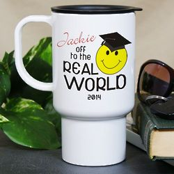 Personalized Off to the Real World Graduation Travel Mug