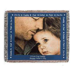 Landscape Dad Photo Blanket with Blue Border